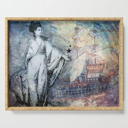 Inspire - A muse and her ship of dreams collage Serving Tray