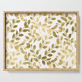 Gold Leaves on White Serving Tray