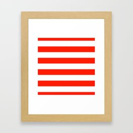 Fiesta Red and White Wide Horizontal Cabana Tent Stripe Framed Art Print