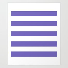 Blue-violet (Crayola) - solid color - white stripes pattern Art Print