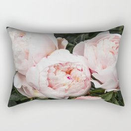 Flower Photography | Peonies Cluster | Blush Pink Floral | Peony Rectangular Pillow