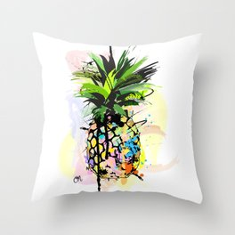 Abstract Watercolor Pineapple Throw Pillow