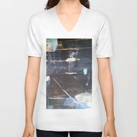 broadway V-neck T-shirts featuring Midnight Broadway East No.28 by Xi By Xi Chen
