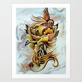 Monarch Peony Remix Art Print