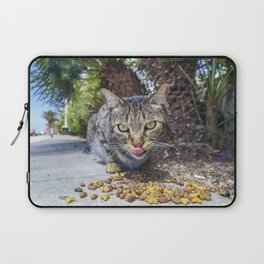 Grey cat eating Laptop Sleeve