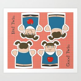 Good Twin/Bad Twin Puppets Art Print