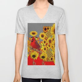 MODERN ABSTRACT RED CARDINAL YELLOW SUNFLOWERS GREY ART Unisex V-Neck