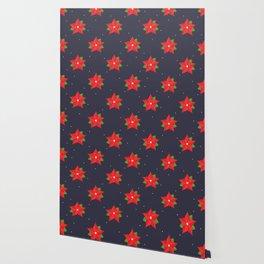 Poinsettia Christmas Pattern Wallpaper