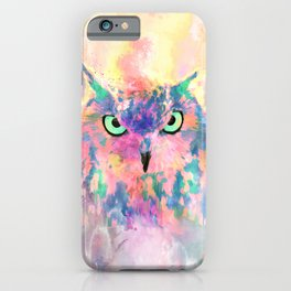 Watercolor eagle owl abstract paint iPhone Case