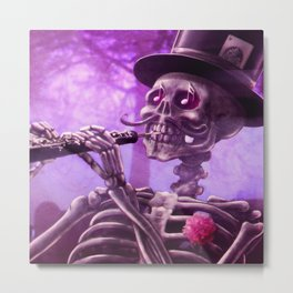 """Move your body!"" - The musician skeleton Metal Print"