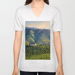 chapel in the Douro Valley, evening light Unisex V-Neck