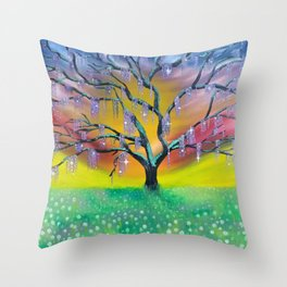 Entanglement, colorful tree landscape, beautiful landscape, cypress tree Throw Pillow