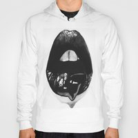 lips Hoodies featuring Ink Lips by Mjenai