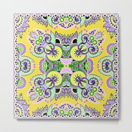 Boho Oriental Floral Pattern Var. 7 Metal Print