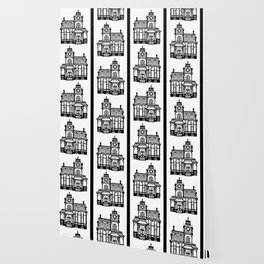 Old Victorian House - black & white Wallpaper