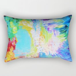 IN DREAMS - Gorgeous Bold Colors, Abstract Acrylic Idyllic Forest Landscape Secret Garden Painting Rectangular Pillow