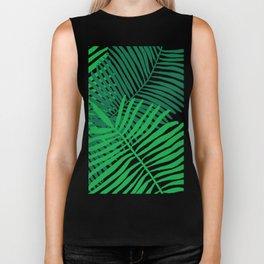 Modern Tropical Palm Leaves Painting black background Biker Tank