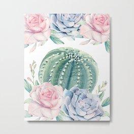 Cactus Rose Succulents Garden Metal Print
