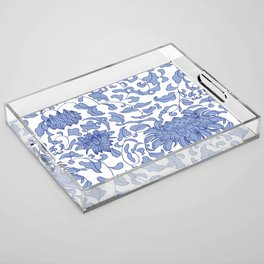 Chinoiserie Vines in Delft Blue + White Acrylic Tray