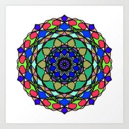 Colourful Hand Drawn Mandala Art Print