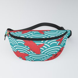 Koi carp. Red fish. black outline sketch doodle. azure teal burgundy maroon Nature oriental backgrou Fanny Pack