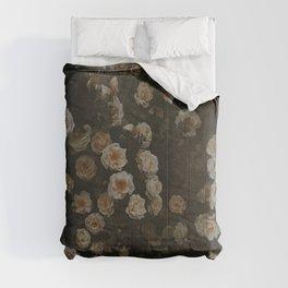 Midnight Dark Floral Grunge Comforters