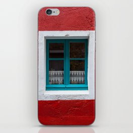 The blue window and the red wall iPhone Skin