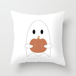 Ghost with Pumpkin Throw Pillow