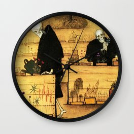 Garden of Life and Death flower and skeleton magical realism portrait painting by Hugo Simberg Wall Clock