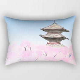 Temple and sakura Rectangular Pillow