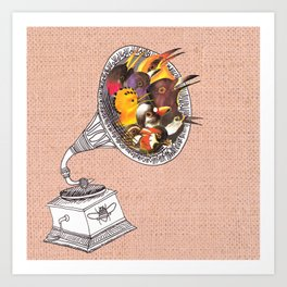 Bird Gramophone Cover Art Art Print