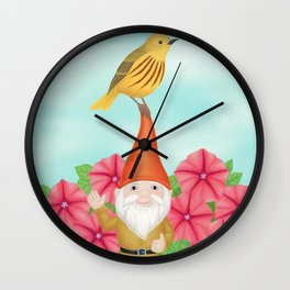 gnome with yellow warbler and petunias Wall Clock