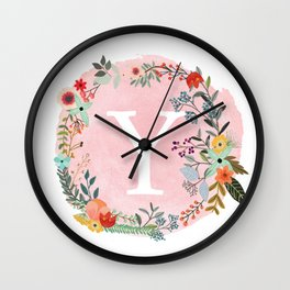 Flower Wreath with Personalized Monogram Initial Letter Y on Pink Watercolor Paper Texture Artwork Wall Clock