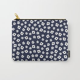 Blue White Spring Flower Pattern Carry-All Pouch