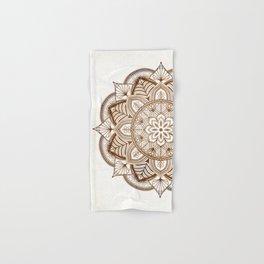Mandala Brown Floral Pattern on Beige Background Hand & Bath Towel