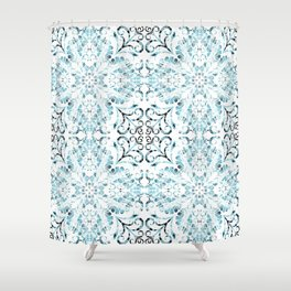 faded blue flourish textile Shower Curtain
