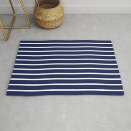 Navy Blue and White Horizontal Stripes Pattern Rug