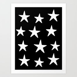 Star Pattern White On Black Kunstdrucke