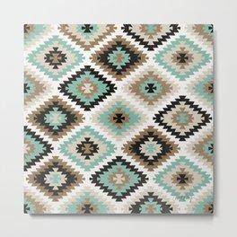 Kilim Protection Pattern – Mint & Neutral Palette Metal Print