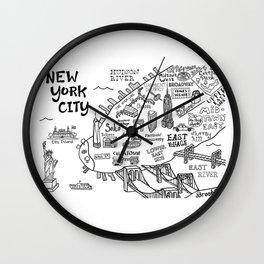 New York City Map Wall Clock