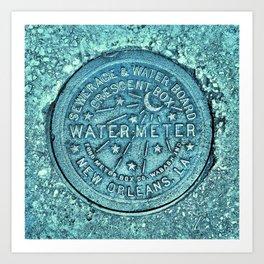New Orleans Water Meter Louisiana Crescent City NOLA Water Board Metalwork Blue Green Art Print