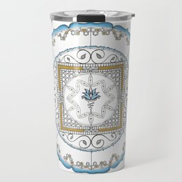 Honeycomb Mandala in Blue and Gold Travel Mug