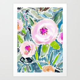 Ballerina Blow Out Floral Art Print