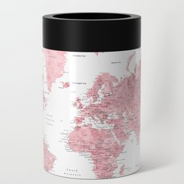Light pink, muted pink and dusty pink watercolor world map with cities Can Cooler