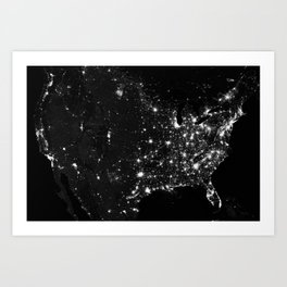 The Lights of the USA (Black and White) Art Print