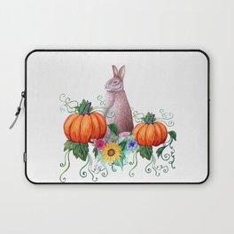 Rabbit, pumpkins , sunflowers in watercolor Laptop Sleeve