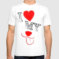I Love My Dog White Mens Fitted Tee SMALL