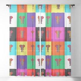 Rainbow Elephant Color Quilt Sheer Curtain