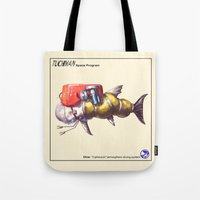 diver Tote Bags featuring Diver by Uri Tuchman