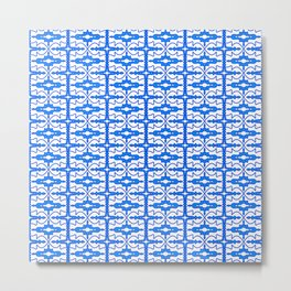 Cool Blue and White Country Saloon Wallpaper Molding Southwestern Design Pattern Metal Print